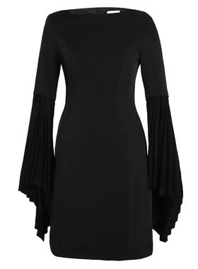 欧洲站2021新款时尚潮流女装轻熟风气质女神范洋气黑色连衣裙女夏