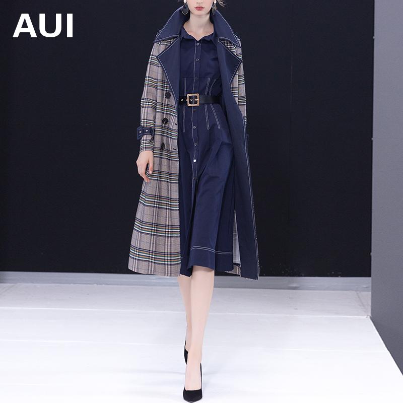 新款潮流中长款双排扣气质时尚显瘦洋气外套女潮2019女士风衣春款