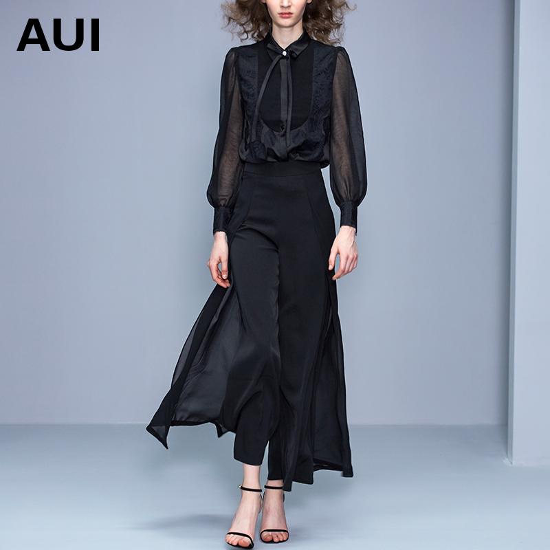 2020春秋装新款衬衣欧美时尚女装黑色欧根纱衬衫女设计感小众上衣
