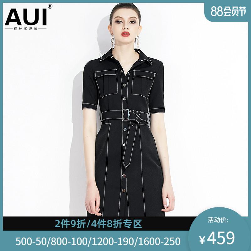 aui黑色轻熟风女装衬衫裙2020新款女神范职业干练气质连衣裙女夏
