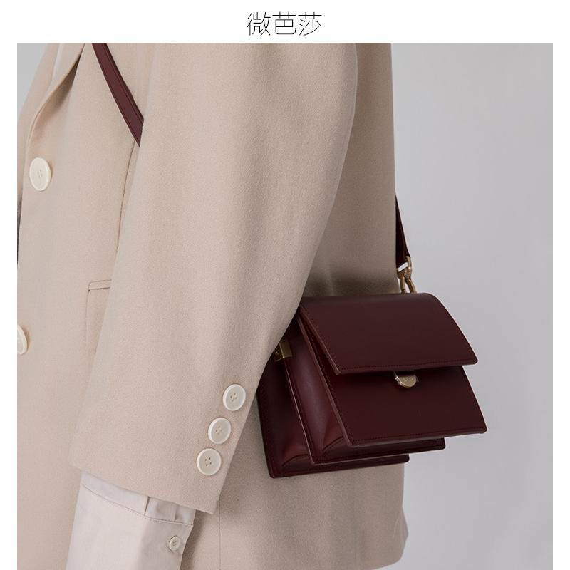 微芭莎真皮包包女2018新款欧美风琴包斜挎包迷你单肩包小方包女包