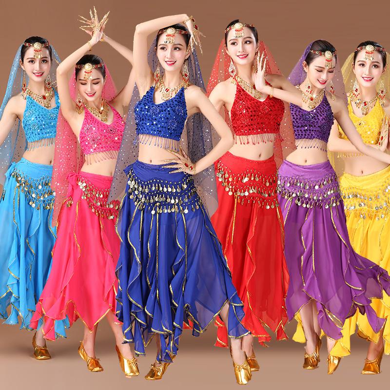 印度舞蹈服装套装成人2018新款天竺少女性感肚皮舞传统女装演出服