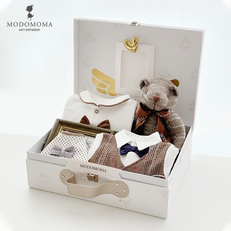 modomoma新生儿用品婴儿礼盒男宝宝秋冬纯棉长袖绅士套装满月送礼