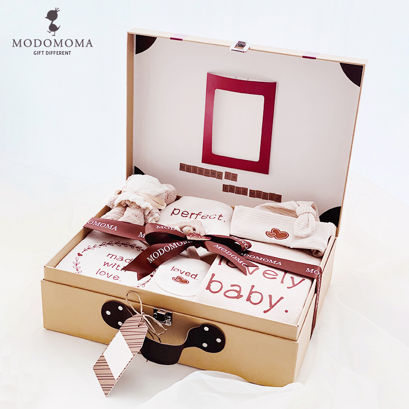 modomoma full moon newborn baby supplies atmospheric gift box boneless colored cotton baby long-sleeved one-piece romper suit