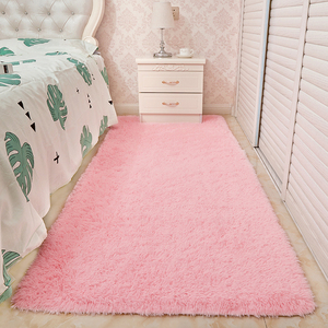 家用床边地毯卧室满铺可爱公主粉色女生房间地毯客厅长毛毛绒定制
