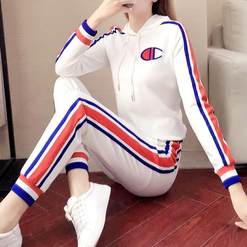白色卫衣休闲装运动风服两件套装女秋春季2020年新款时尚洋气春装