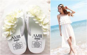 新款女冬鞋高跟百搭韩版白鞋沙滩松糕厚底手工人字休闲凉拖鞋
