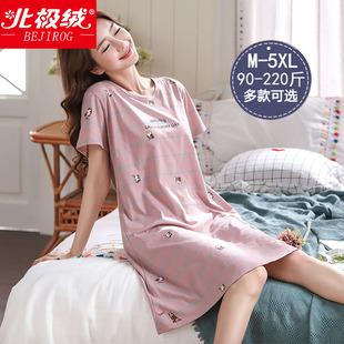 纯棉薄款 韩版 短袖 睡裙女夏季 宽松加肥加大码 胖mm200斤睡衣女夏天