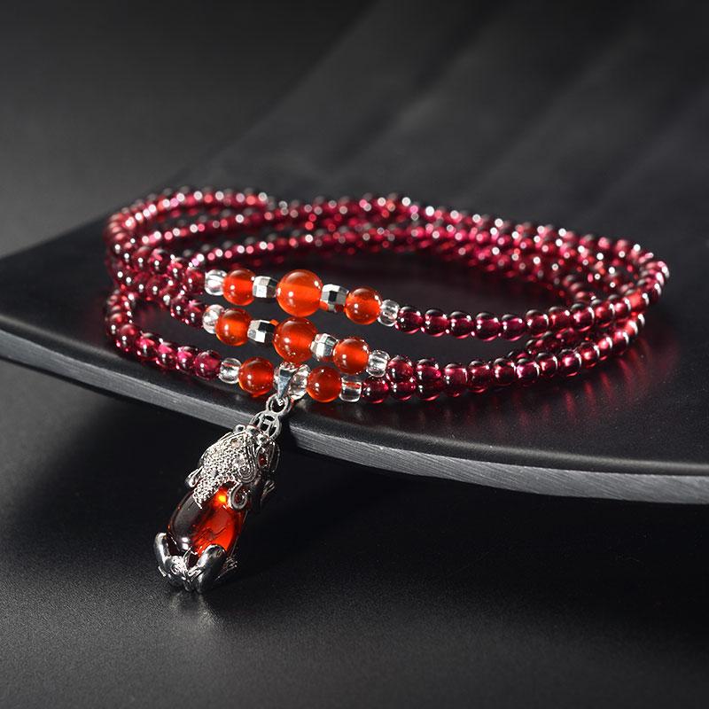 FS珠宝 石榴石【女人石】红玛瑙三圈手链