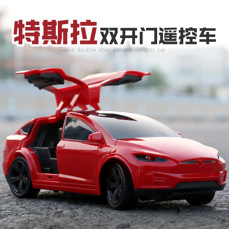 特斯拉仿真车模电动遥控车充电赛车漂移男孩无线四通道儿童玩具车