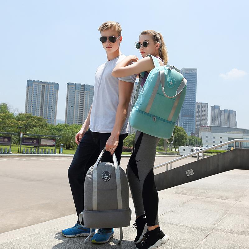Dry wet separation backpack swimming bag independent shoes fitness bag super large waterproof pull rod travel bag