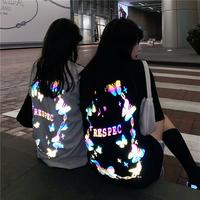闺蜜装夏季蝴蝶反光纯棉短袖t恤女甜酷2021新款宽松韩版情侣上衣