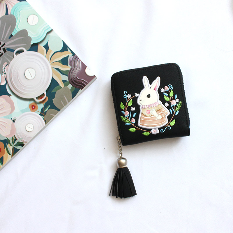 Short cute tassel cartoon wallet, Harajuku college style zipper embroidery, Qian jianu