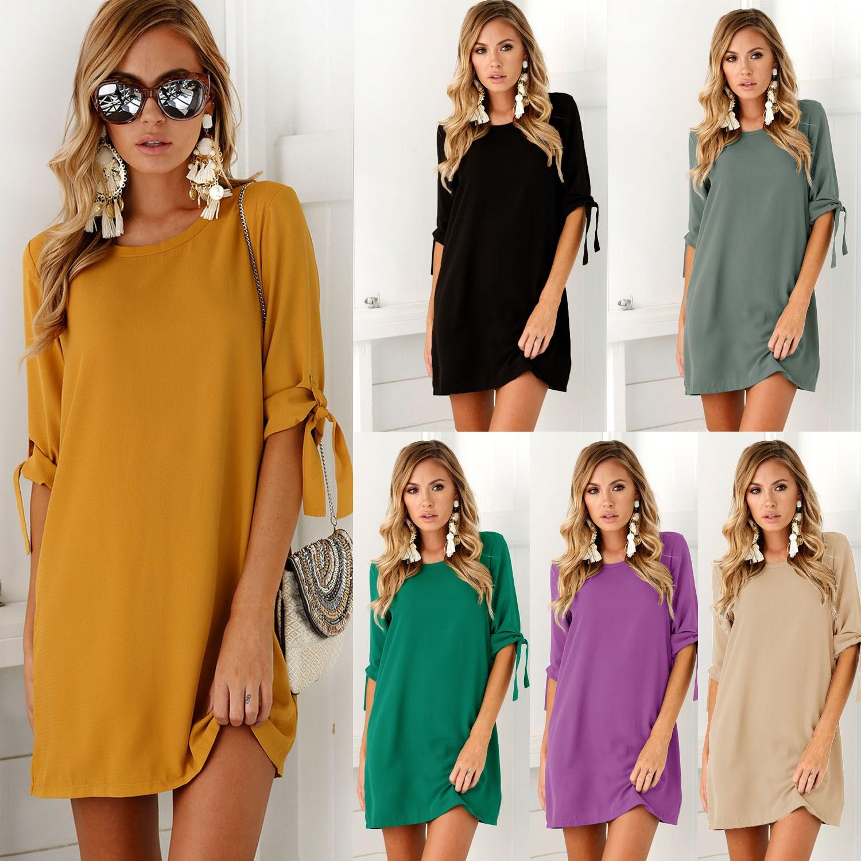 Women Long T-shirt Ladies Casual Party Mini Dress Blouse Top