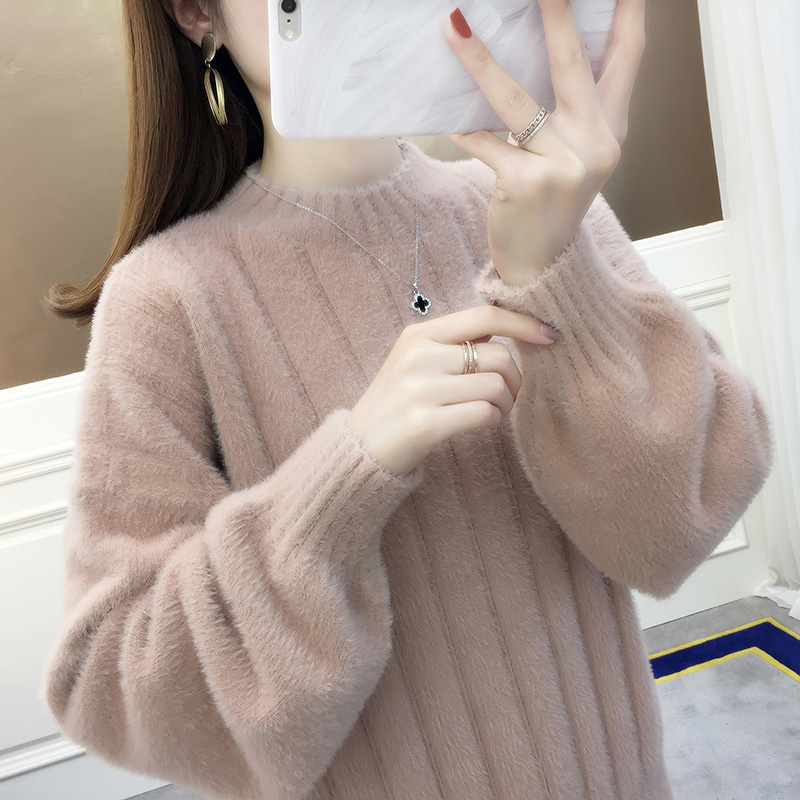 Half high collar mink cashmere sweater womens new loose fitting sweater for autumn and winter 2020