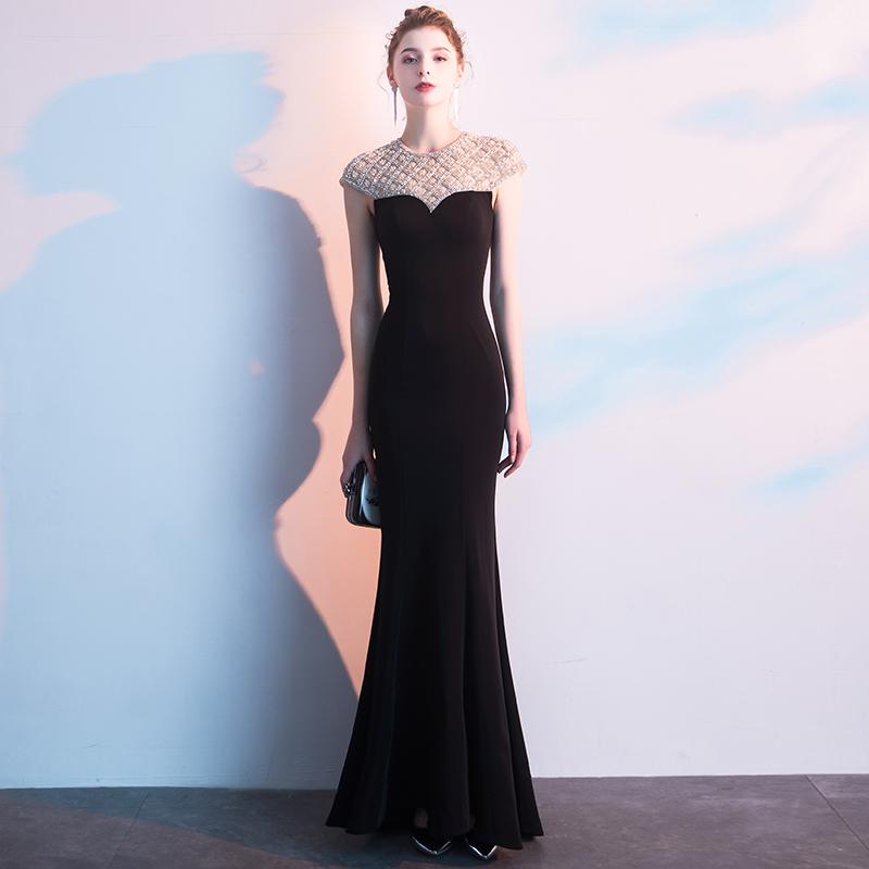 黑色宴会晚礼服裙女2019新款高端大气奢华性感鱼尾气质主持人年会
