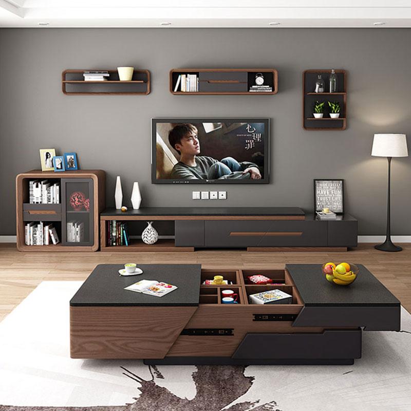 火烧石茶几电视柜组合简约现代多功能北欧大理石茶几客厅创意家具