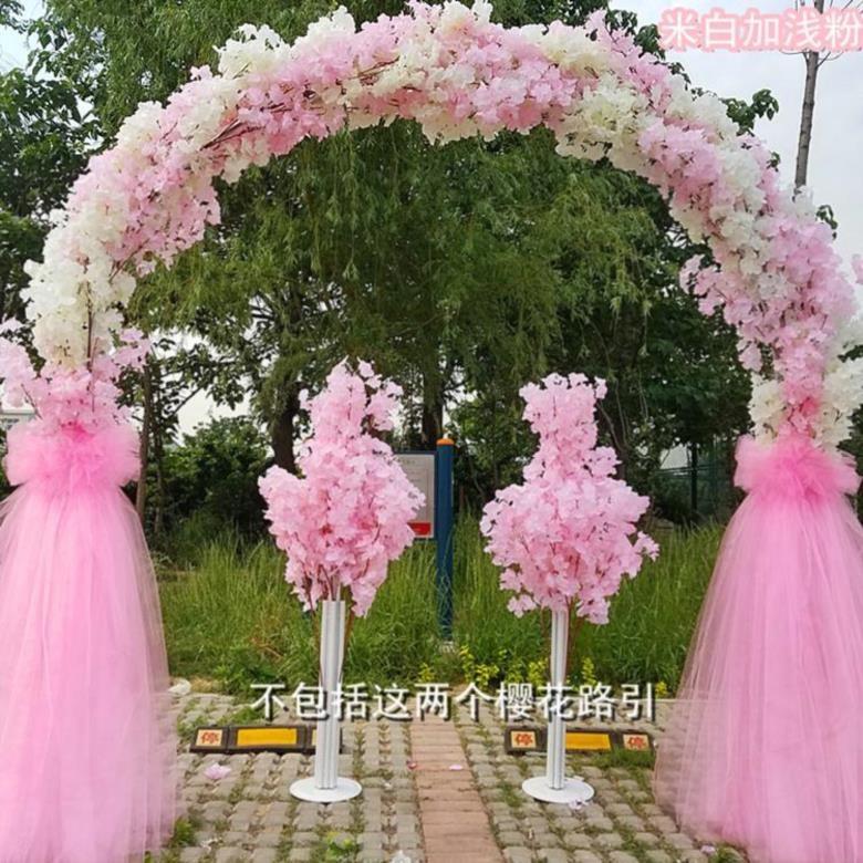 礼堂酒席结婚装饰绢花场景布置农村浪漫展览会拱门庭院花门花环。