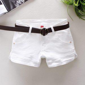 奢缘白色牛仔短裤女士低腰潮短裤子