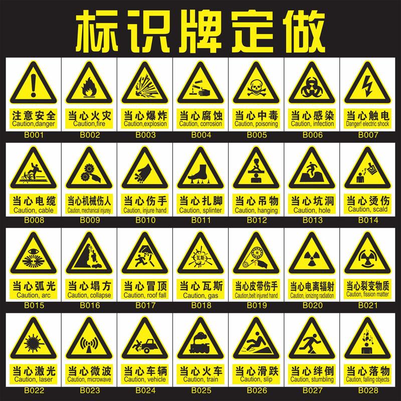 安全标识牌禁止吸烟当心触电小心中毒当心火灾爆炸腐蚀机械伤人标志消防提示牌警示贴亚克力UV打印提示牌定制