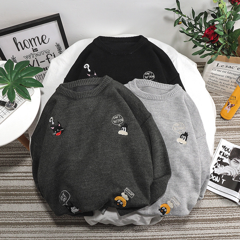 Spring and autumn 2020 Korean students Youth Popular round neck mens sweater Pullover long sleeve casual mens sweater trend