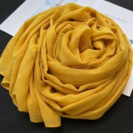 2021秋冬季新款棉麻围巾女士长款百搭保暖披肩两用亚麻丝巾姜黄色图片