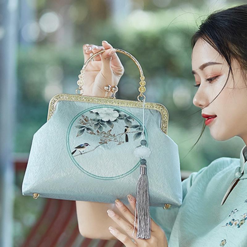 复古新款配旗袍的女包diy手工晚宴包口金包手提包斜跨中国民国风