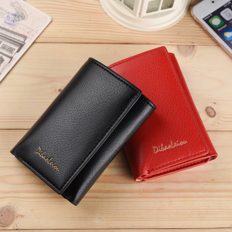 New compact short three fold Wallet practical multi-functional mens wallet womens wallet Korean couple Wallet Bag