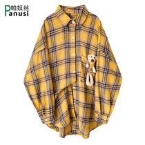 设计感格子衬衫女长袖可爱小熊秋季新款复古港味宽松中长款衬衣潮