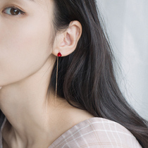 s925 Silver ear nail ear line Feminine temperament Korean personality cherry blossom ear chain hundred simple long peach heart earrings earrings