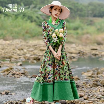改良复古裙加大码女装沙滩裙民族春秋季新款中国风V领长裙连衣裙