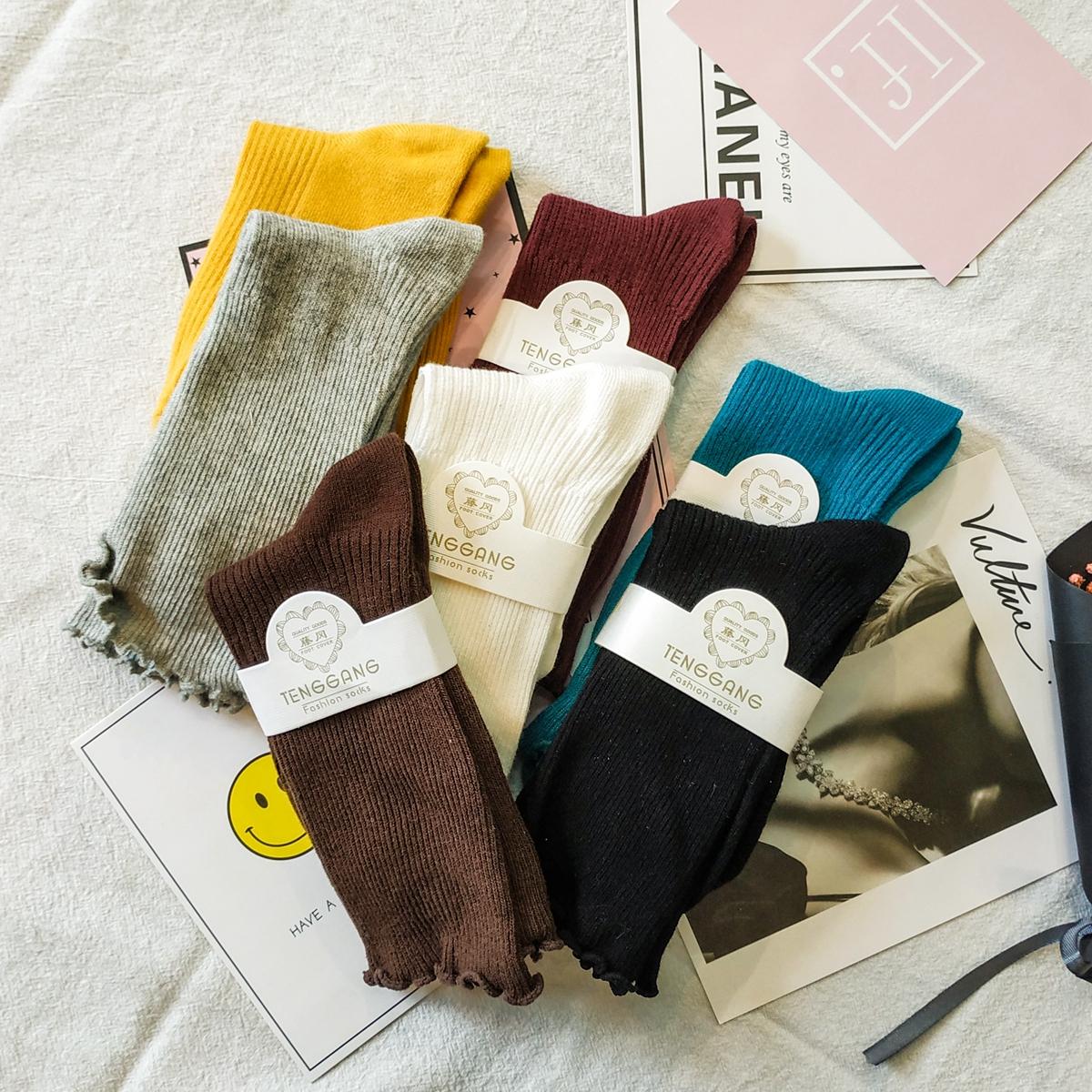 2018秋季新款流行时尚中筒堆堆袜子花边靴袜直筒学院风潮款女袜子