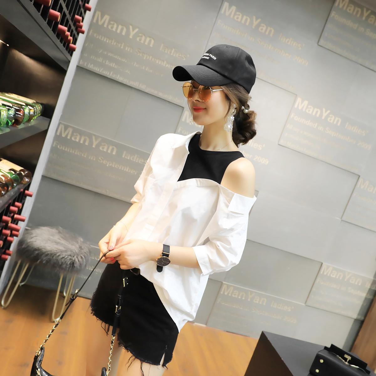 韩范chic衬衫女秋装2018新款女装时尚百搭假两件衬衣女短袖潮款