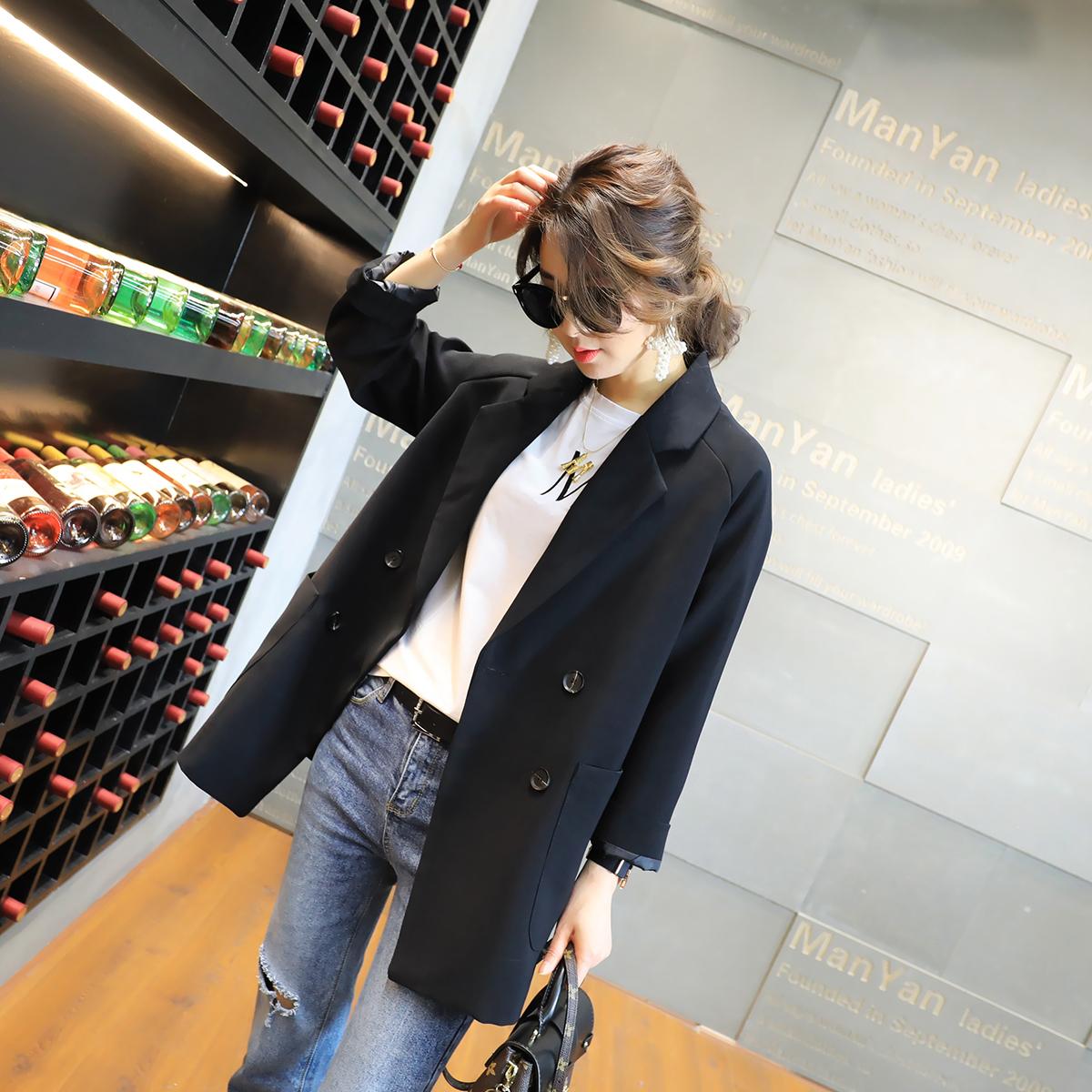 Весна 2018 новая девушка наряд корейский студент мода отворот двубортный черный chic небольшой костюм пальто женщина волна