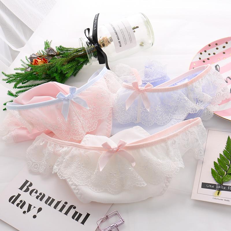 Lovely lace fly edge milk silk underwear girls middle low waist briefs pure cotton crotch Pink Girls Underwear