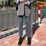 牛仔裤女宽松2020年秋装新款高腰遮肚子显瘦显高小个子直筒裤春秋