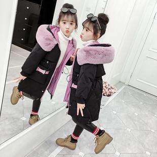 女童冬装2019新款中长款加厚棉服