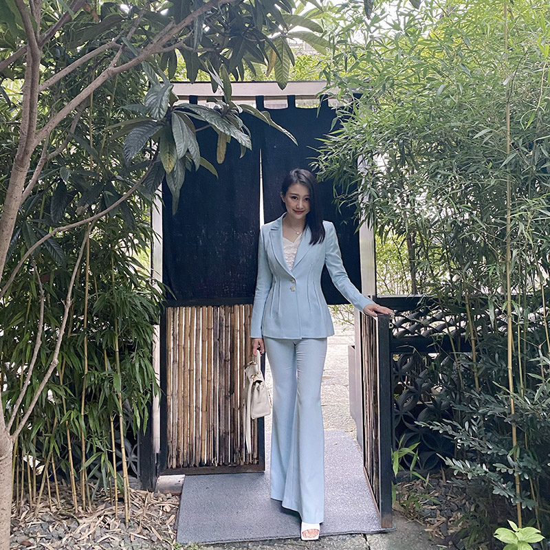 Zoual / YANTI autumn / winter 2020 new blue suit pants and flared pants