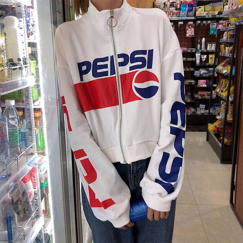 2018早秋装pepsi短款卫衣女装百事可乐图案小高领薄款拉链短外套