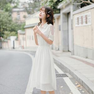 夏季收腰气质chic温柔夏装2020年新款女雪纺连衣裙森系超仙女裙子
