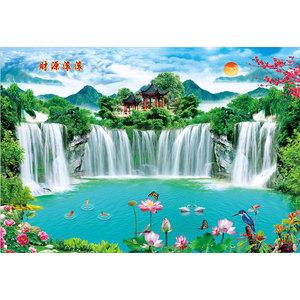 山水风景客厅瀑布墙画家居纸画海报