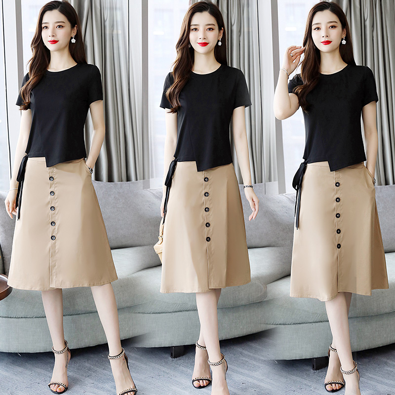 Dress 2020 summer new womens dress temperament goddess model summer fashion skirt suit two piece set