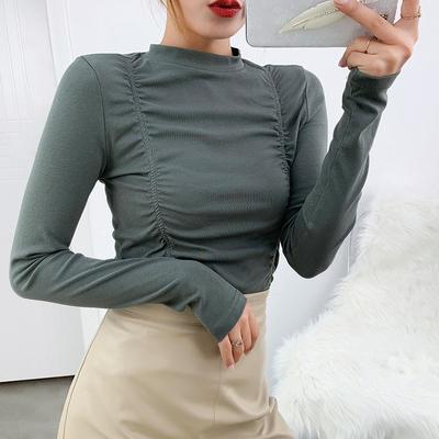 新款早春修身显瘦圆领设计褶皱小心机打底衫纯棉长袖T恤女款内搭