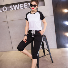 Nethong two-piece set of foreign style fat mm2019 new large-size women's wear fat sister sports suit cover meat loose and thin