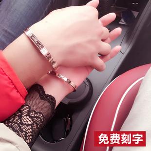 手镯女冷淡风镀18K玫瑰金手环简约小众手镯 网红情侣手链男女一对