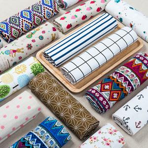 棉麻布料清仓处理ins风格子老粗布亚麻桌布花布背景布挂布头手工