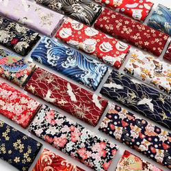 和风烫金纯棉布料日本日式印花布棉麻布服装旗袍汉服衣服面料清仓