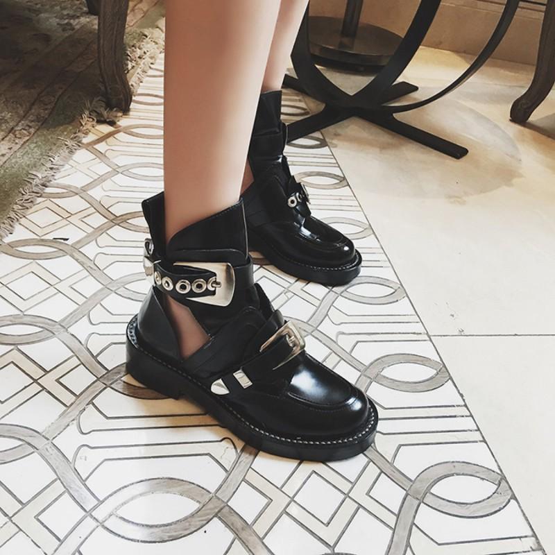 马丁靴2021年新款女春秋单靴潮ins百搭粗跟网靴镂空镂空鞋女夏季