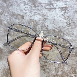 近视眼镜女网红款大脸显脸小素颜透明大框架超轻眼睛男潮可配度数