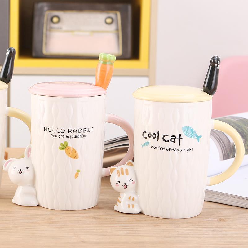 陶瓷杯女可爱卡通马克杯带盖勺创意水杯大容量情侣杯办公室咖啡杯限时抢购